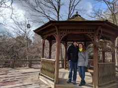 Outside on the mountain-side at the gazebo.